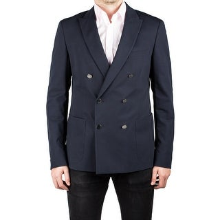 Prada Men's Double Breasted Peak Lapel Suit Sport Jacket Coat Blazer Navy Blue