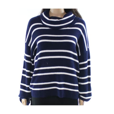 Abound Navy Blue White Women's Size XS Striped Cowl Neck Sweater