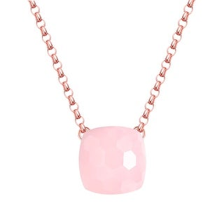 Vedantti Magic Honeycomb Cut Pink Opal Gemstone Angel Solitaire Necklace