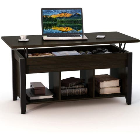 Lift Top Coffee Table with Hidden Storage Compartment.& Shelf