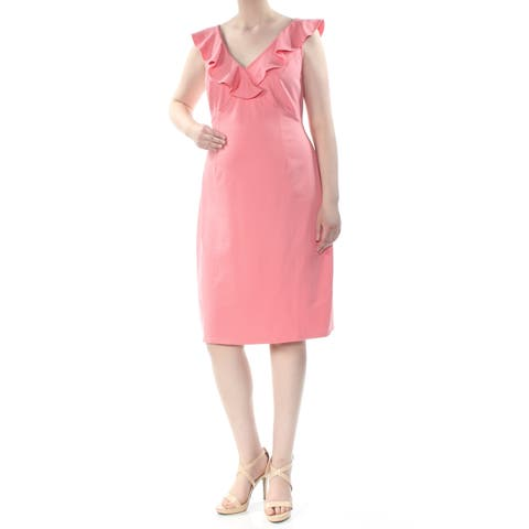 LOVE SQUARED Womens Pink Ruffled Sleeveless V Neck Knee Length Body Con Party Dress Plus Size: 2X