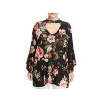 Alison Andrews Womens Plus Choker Top Bell Sleeve Floral Print