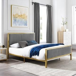 Link to Corvus Velvet Upholstered Platform Frame Bed Similar Items in Bedroom Furniture