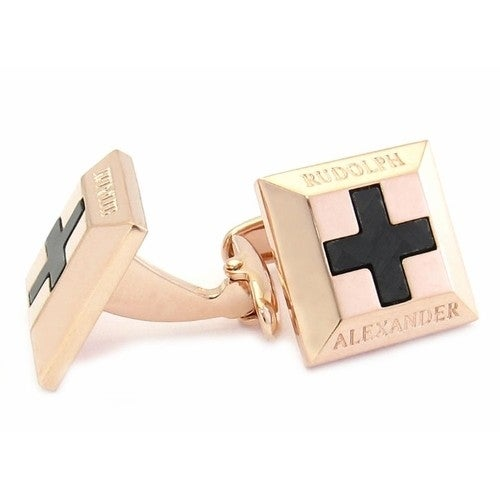 Carbon Fiber Cross Rose Gold Cufflinks