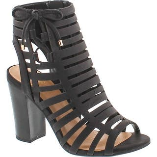 2f073473258b9b Delicious By Soda Women s Server Geometric Cut Out Caged Peep Toe Heeled  Sandal