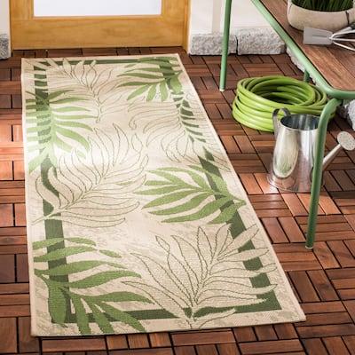 SAFAVIEH Courtyard Rhonda Botanical Indoor/ Outdoor Patio Backyard Rug