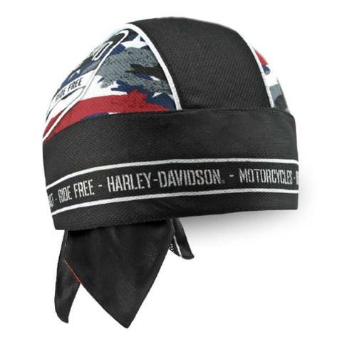 Harley-Davidson Men's Patriotic Grunge Perforated Headwrap, Black HW29084 - One Size
