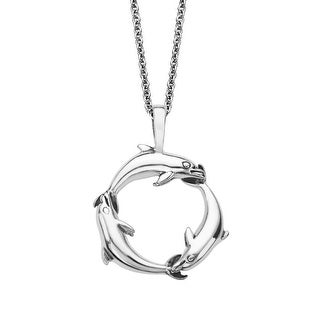 Kabana Dolphin Pendant in Sterling Silver - White