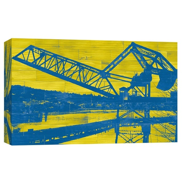 """PTM Images 9-102153 PTM Canvas Collection 8"""" x 10"""" - """"Ballard Train Trestle - Blue and Yellow"""" Giclee Cityscapes Art Print on"""