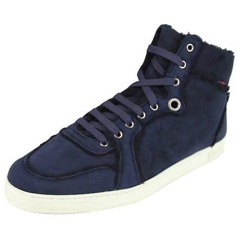 Gucci Men's Navy Shearling High-Top Sneaker 309408 4009