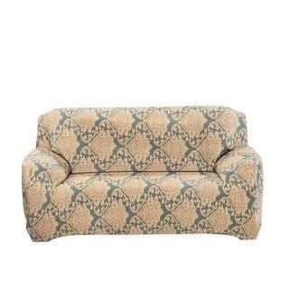 Home Polyester Leave Flower Pattern Elastic Loveseat Cover Slipcover 55-74 Inch