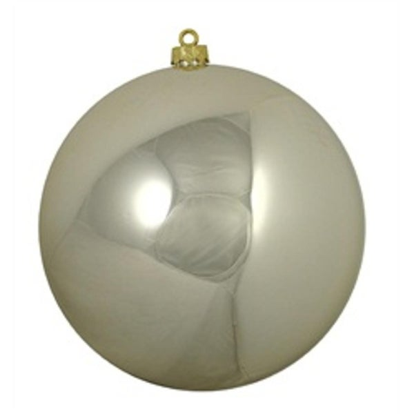 """Shiny Champagne UV Resistant Commercial Drilled Shatterproof Christmas Ball Ornament 10"""" (250mm)"""