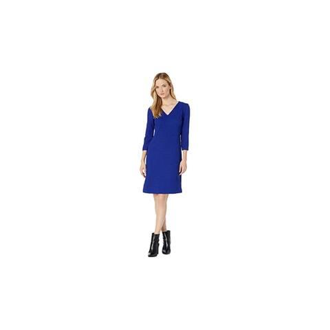 RALPH LAUREN Blue 3/4 Sleeve Above The Knee Dress 2