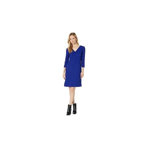 RALPH LAUREN Blue 3/4 Sleeve Above The Knee Dress 6