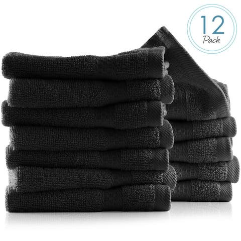 Hearth & Harbor 100 Percent Cotton Ultra Soft and Highly Absorbent Set of 12 Multipurpose Wash Cloths - 13 inches x 13 inches.