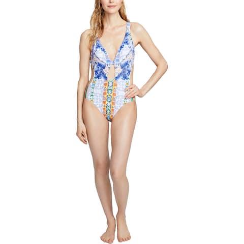 Rachel Rachel Roy Womens Printed Cutout One-Piece Swimsuit - Moroccan