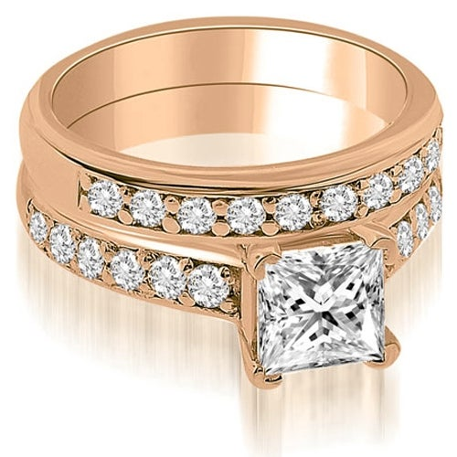1.40 cttw. 14K Rose Gold Cathedral Princess Cut Diamond Bridal Set