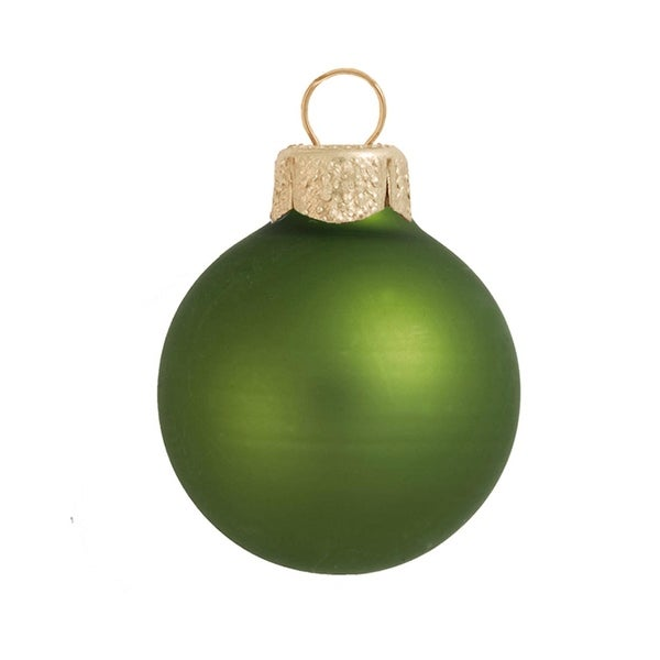 "40ct Matte Lime Green Glass Ball Christmas Ornaments 1.25"" (30mm)"