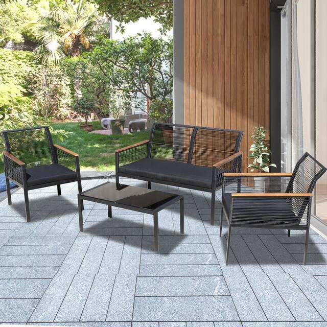 4-piece Black Wicker Cord Patio Furniture Sofa Conversation Set - Black