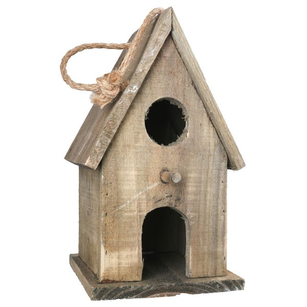 Wooden Bird House with Double Front Entrance and Back Door Entry, Brown. Opens flyout.