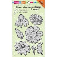 """Daisy Mix - Stampendous Cling Stamps & Stencil 5""""X7"""""""