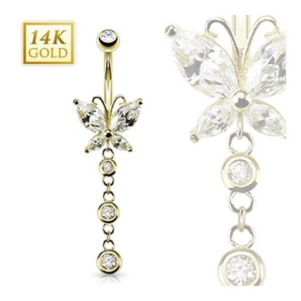 "14 Karat Solid Yellow Gold Marquise CZ with Triple CZ Dangle Butterfly Navel Belly Button Ring - 14GA 3/8"" Long"