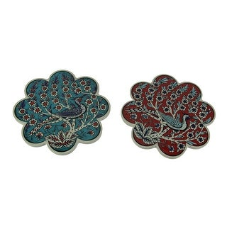 Set of Two Red and Blue Bird Design Trivets