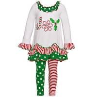 """Bonnie Jean Little Girls Green Red Stripe Dot """"Joy"""" 2 Pc Legging Set"""