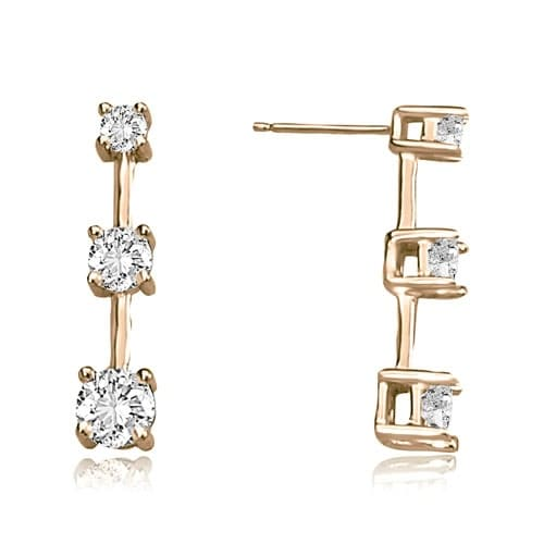 2.00 cttw. 14K Rose Gold Classic Three-Stone Round Diamond Earrings - White H-I