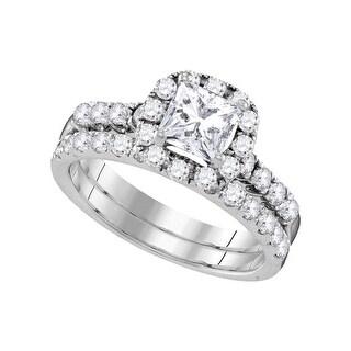 14k White Gold Princess Diamond Bridal Wedding Engagement Ring Band Set 1 & 7/8 Cttw