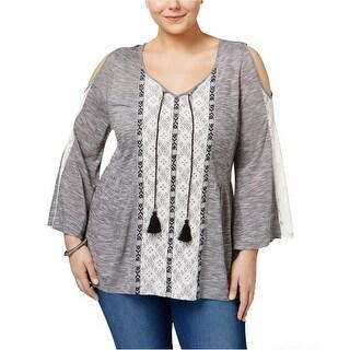 Style & Co Cold Shoulder Peasant Top Shirt - l