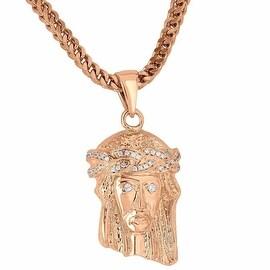 "Jesus Christ Face Pendant 18K Rose Gold Tone Simulated Diamonds Franco Chain 24"""