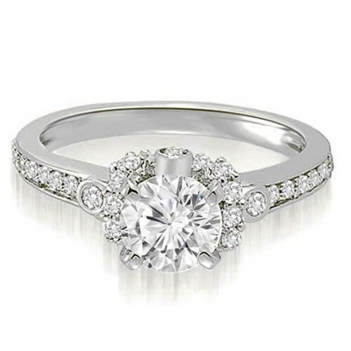 0.82 cttw. 14K White Gold Round Cut Diamond Engagement Ring