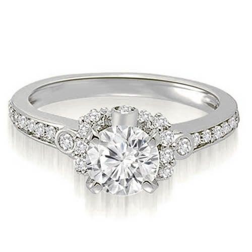 1.07 cttw. 14K White Gold Round Cut Diamond Engagement Ring