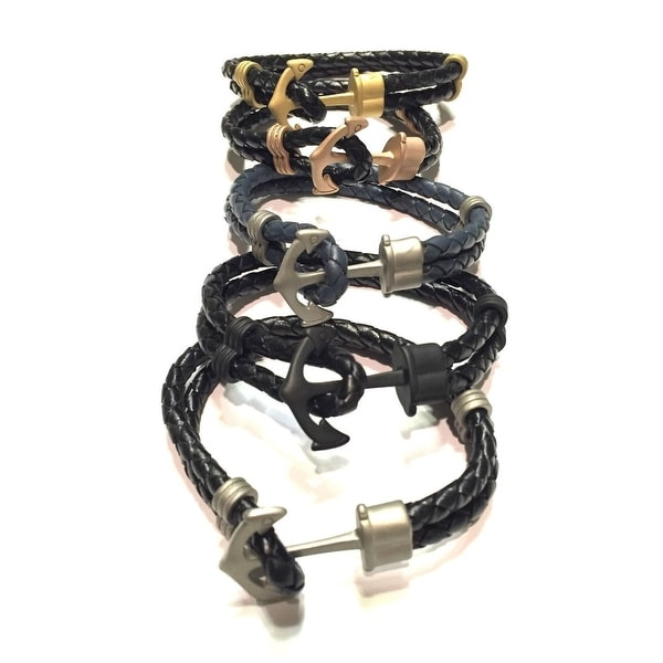 Braided Leather Stainless Steel Anchor Bracelet