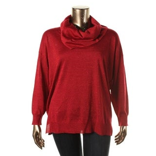 Cupio Womens Plus Long Sleeves Metallic Sweater