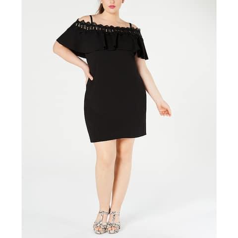 BCX Women's Plus Size Off-The-Shoulder Crochet Dress Black Size 2XL