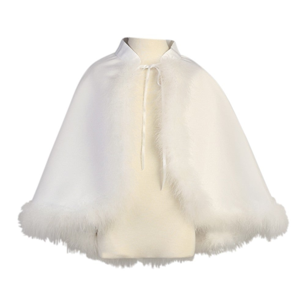 Lito Little Girls White Sheer Organza Special Occasion Bolero Shrug 3-6X