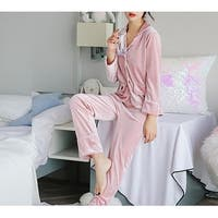 QZUnique Women's Swan Coral Velvet Sleepwear Long-sleeves Pajamas Set