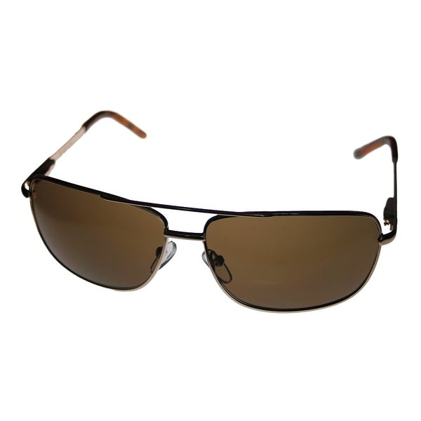 Kenneth Cole Reaction Mens Gold Brown Rectangle Metal Sunglass KC1076 772 - Medium