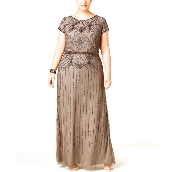 4c2de6b0892d3 Shop Adrianna Papell Plus Size Beaded Blouson Evening Gown Dress - 14W -  Free Shipping Today - Overstock.com - 20028333