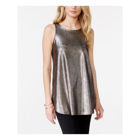 ALFANI Womens Silver Animal Print Sleeveless Jewel Neck Top Size S