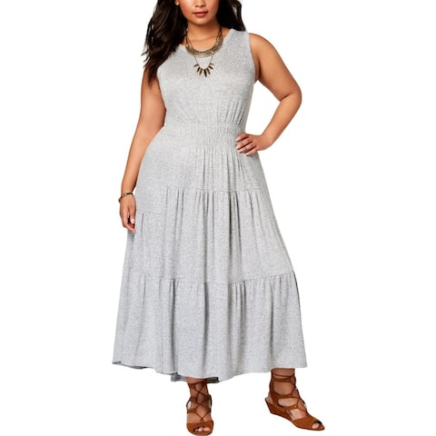 Lucky Brand Womens Plus Maxi Dress Heathered Smocked - 2X