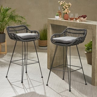 Link to Dale Wicker Bar Stool with Cushion (Set of 2) by Christopher Knight Home Similar Items in Dining Room & Bar Furniture