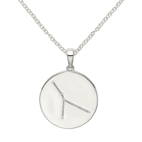 Sterling Silver and Cubic Zirconia Cancer Zodiac Pendant with 18-inch Cable Chain by Versil