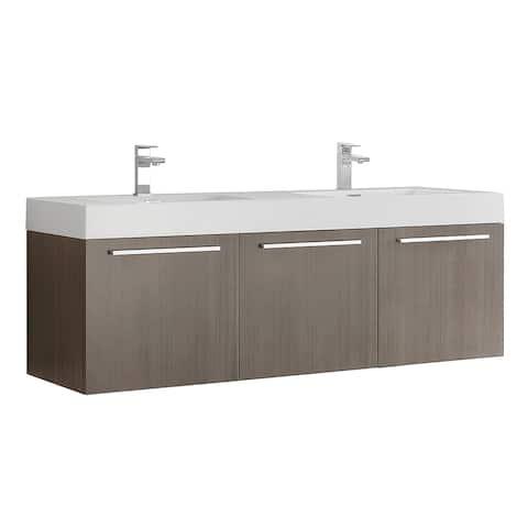 "Fresca Vista 60"" Gray Oak Wall Hung Double Sink Bathroom Cabinet"