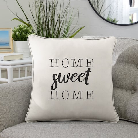 """Sunbrella Indoor/Outdoor Single Embroidered Pillow - """"Home Sweet Home"""""""