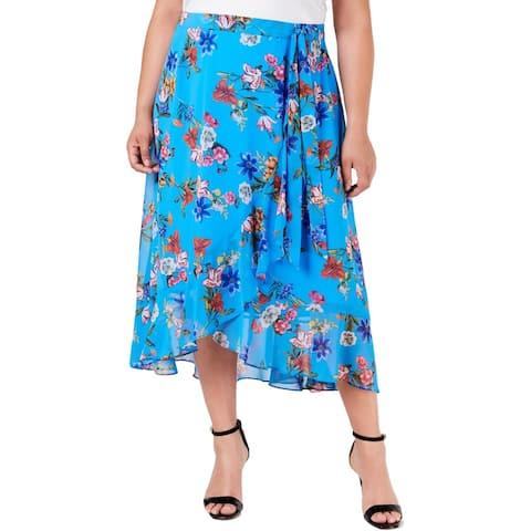 Calvin Klein Womens Plus Midi Skirt Chiffon Floral Print - Blue