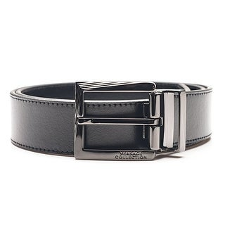 Versace Collection Men's Black Leather Silver Buckle Adjustable Belt 175 - M
