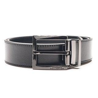 Versace Collection Men's Black Leather Silver Buckle Adjustable Belt 175 - M